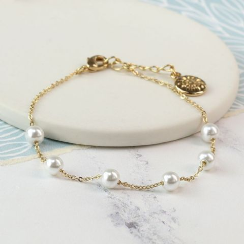 GLASS PEARL GOLD BRACELET